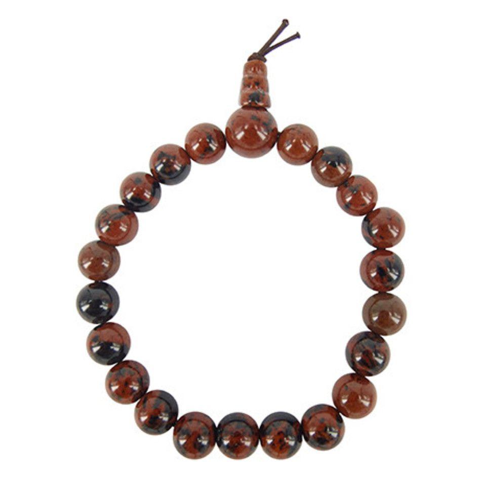 Obsidiaan mahonie powerbead armband