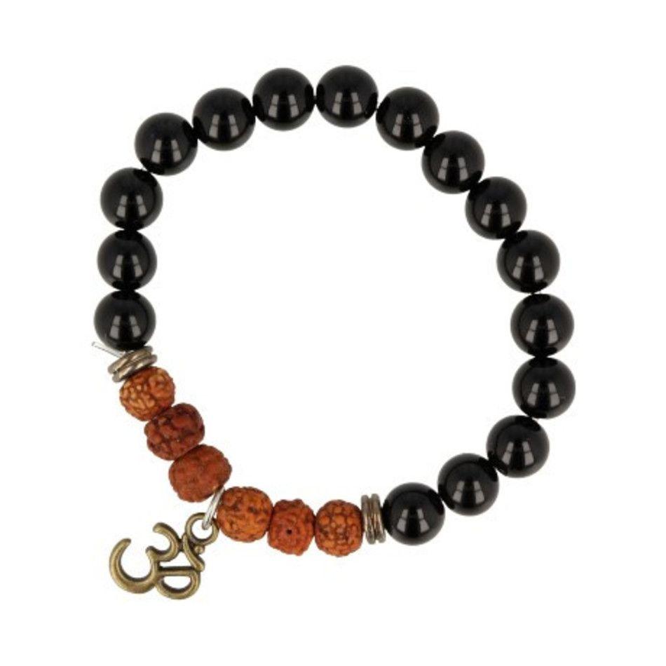 Obsidiaan / Rhudraksha armband Ohm-bedel