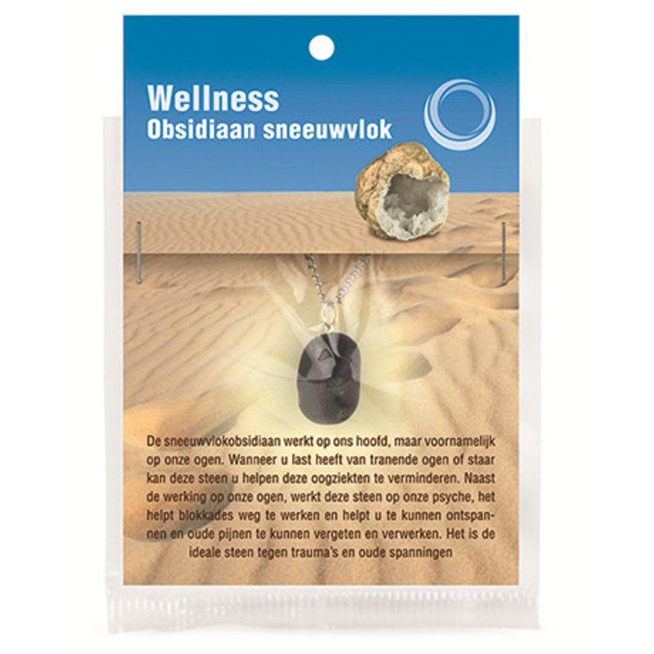 Obsidiaan sneeuwvlok gezondheids hanger