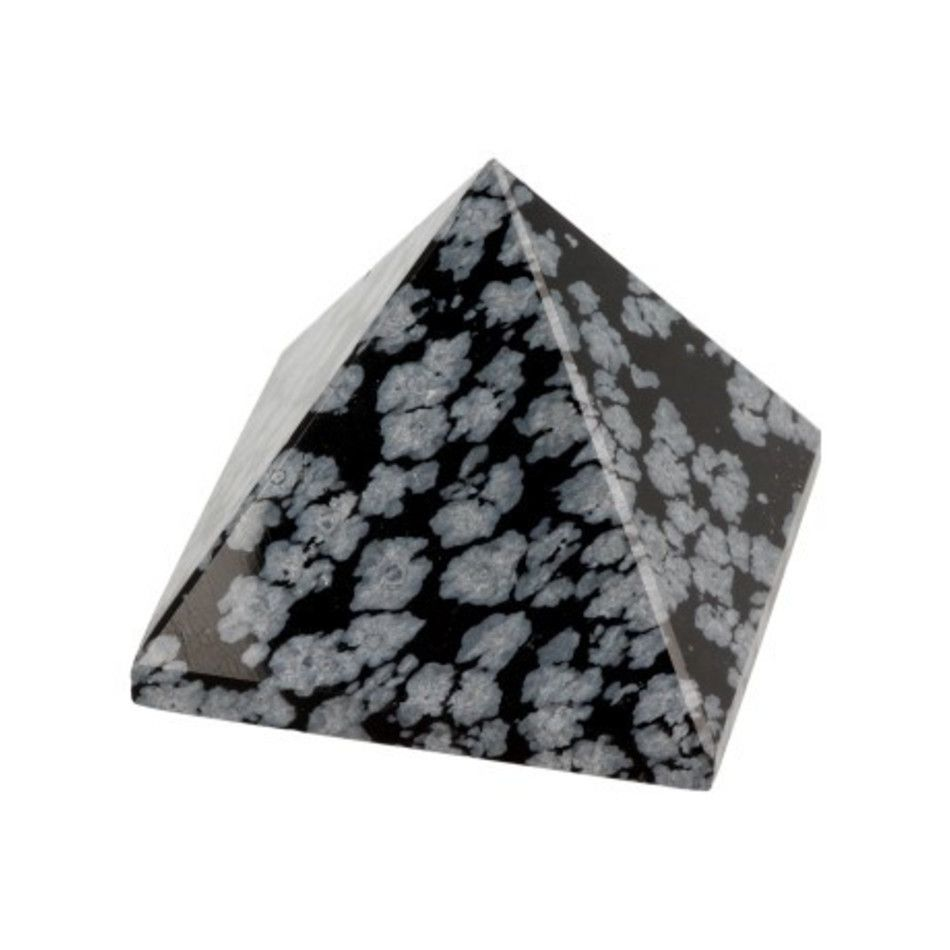 Obsidiaan sneeuwvlok piramide 30 mm