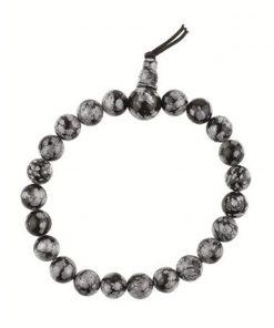 Obsidiaan sneeuwvlok powerbead armband