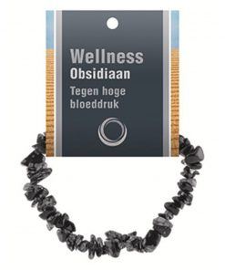Obsidiaan sneeuwvlok splitarmband + kaart