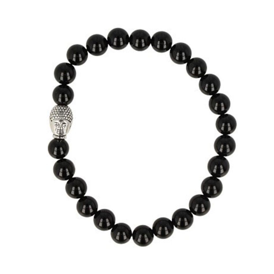 Onyx kralen armband boeddha mannen