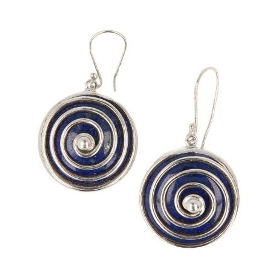 Oorbellen Lapis Lazuli in zilver spiraal