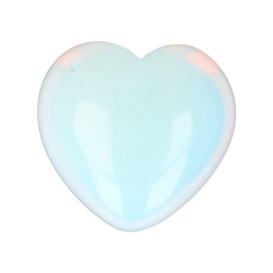 Opaliet hart 30 mm (synth) edelsteen