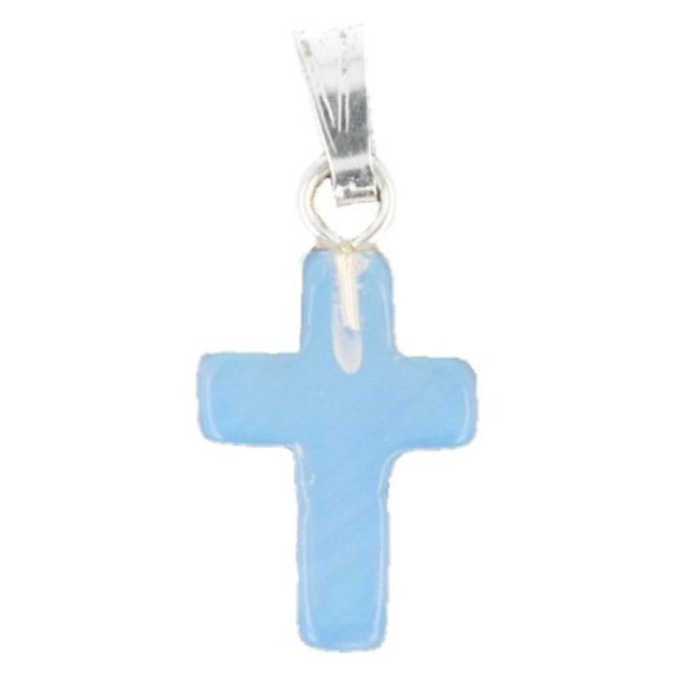 Opaliet kruis hanger 14 mm (synth)