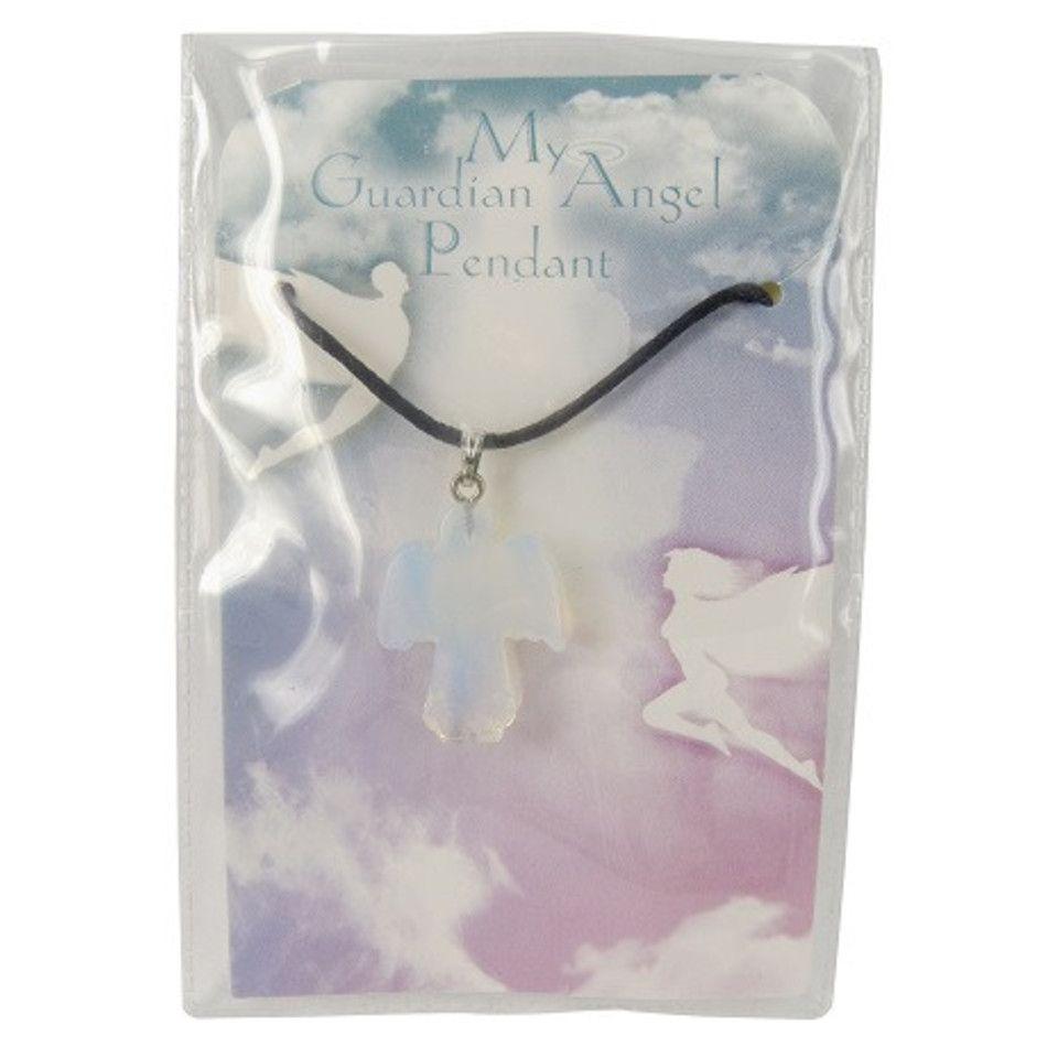 Opaliet platte engelen hanger displayset 1 st. (synth)