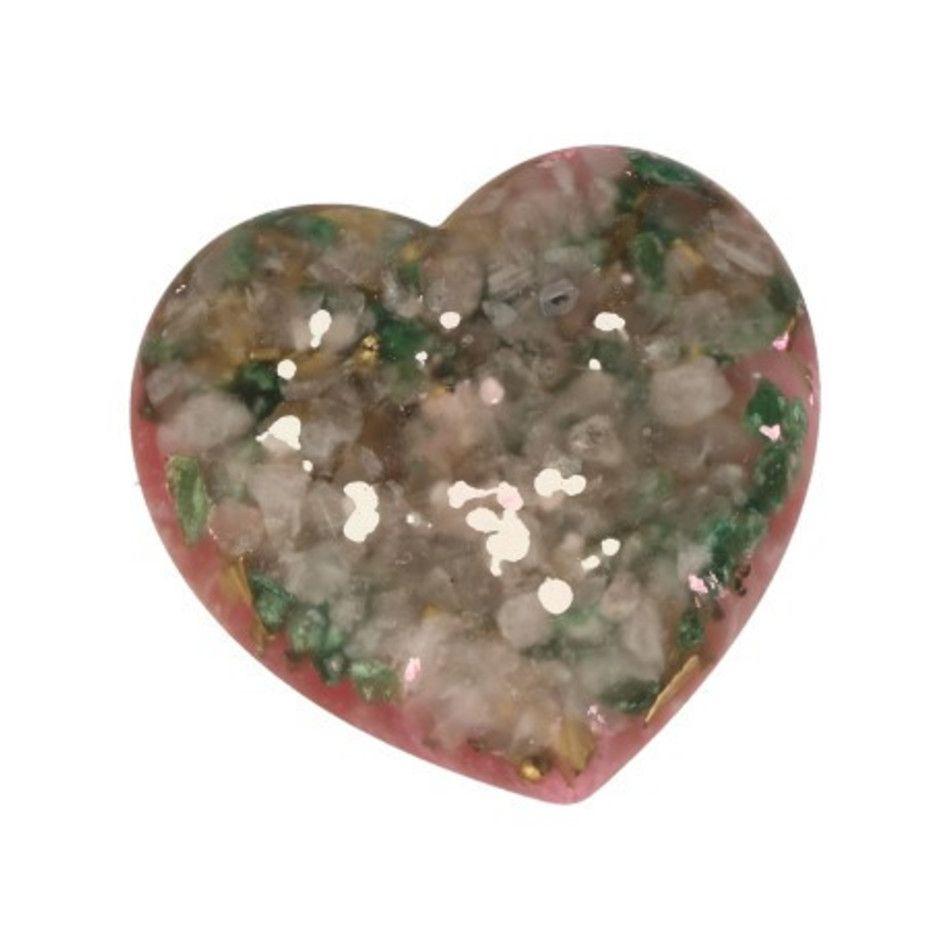 Orgonite hart Bergkristal en Epidoot