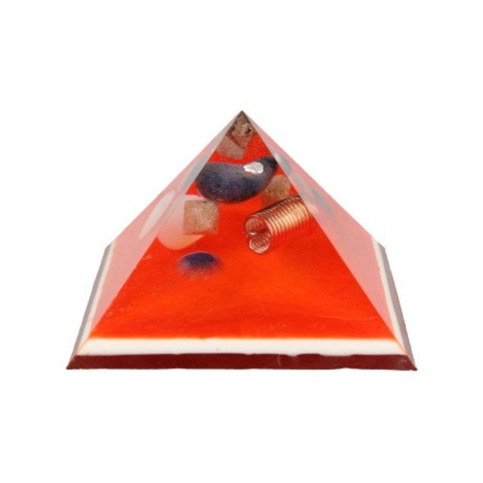 Orgonite piramide met Dumortieriet Opaliet en Tensorcoil