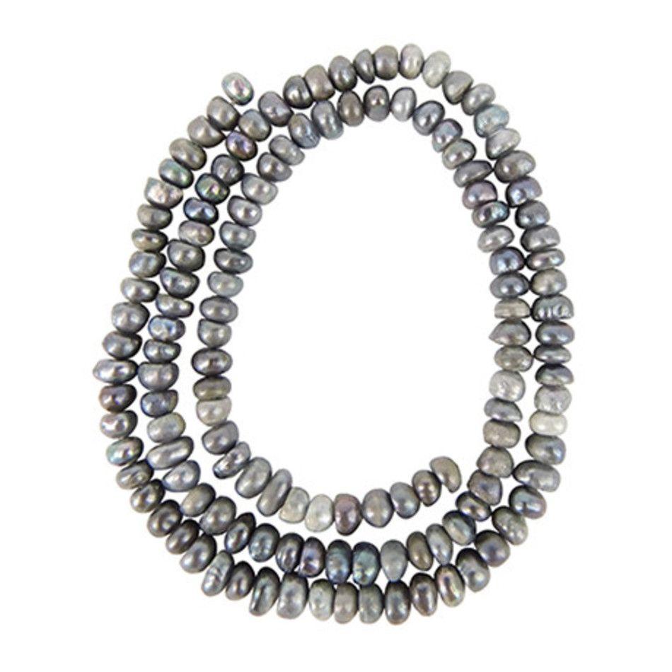 Parel grijs kralen streng 3 mm (bijgekleurd)