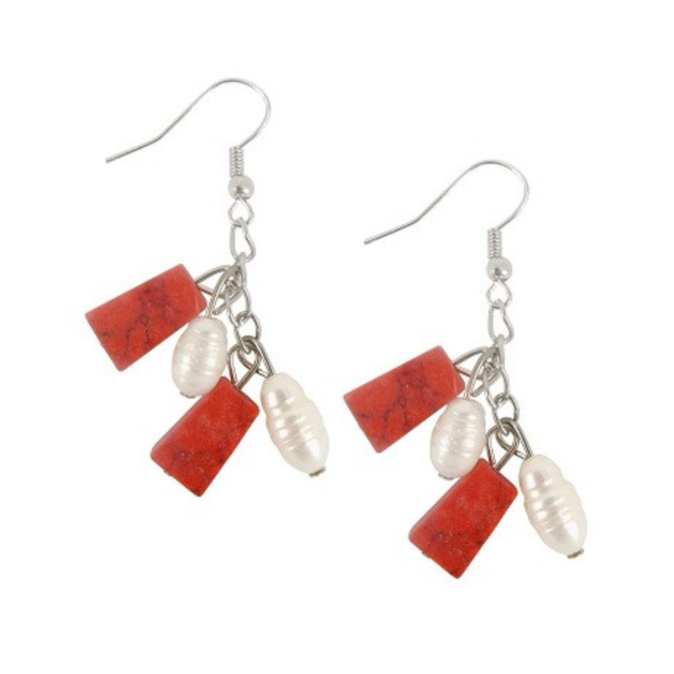 Parel / Turkoois rood oorbellen