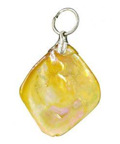 Parelmoer geel edelsteen hanger (gekleurd)