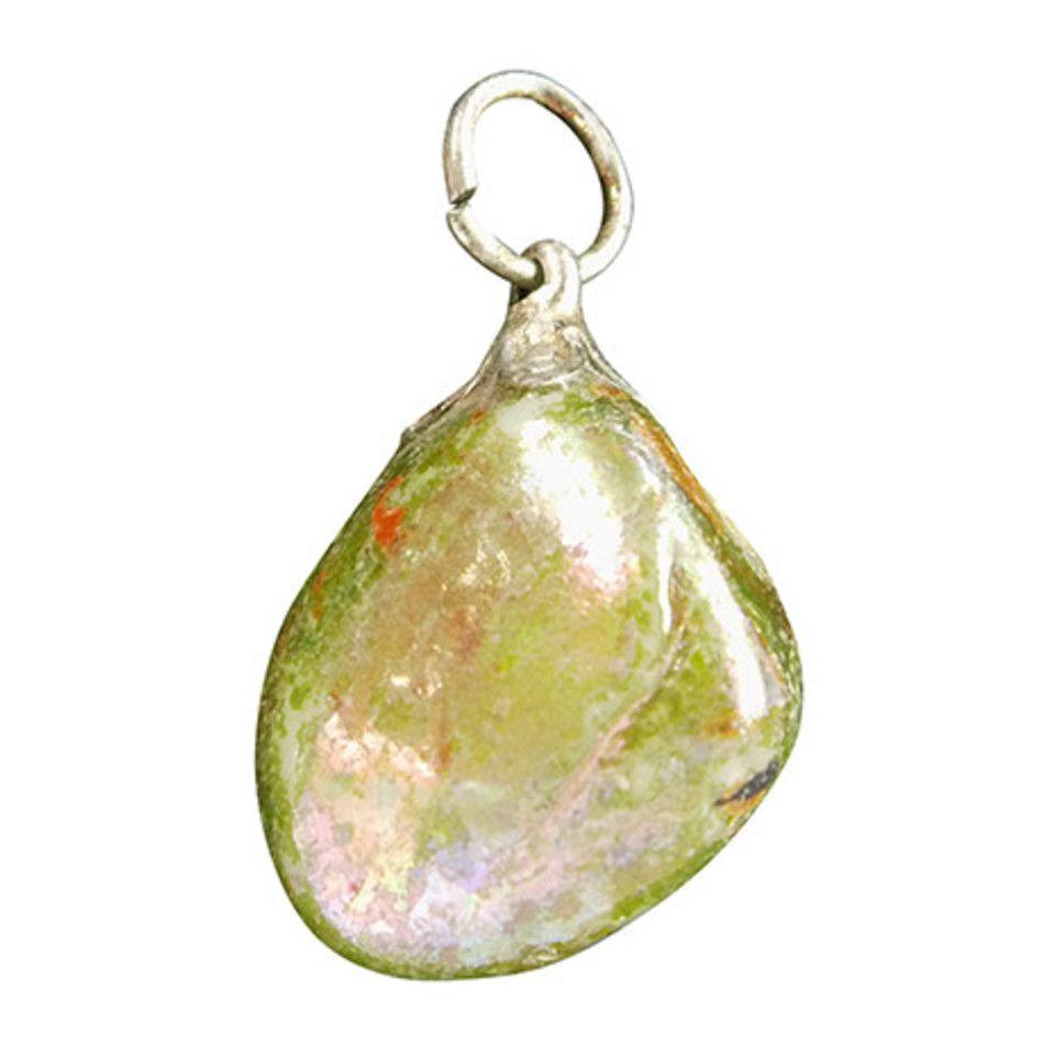 Parelmoer groen donker edelsteen hanger (gekleurd)