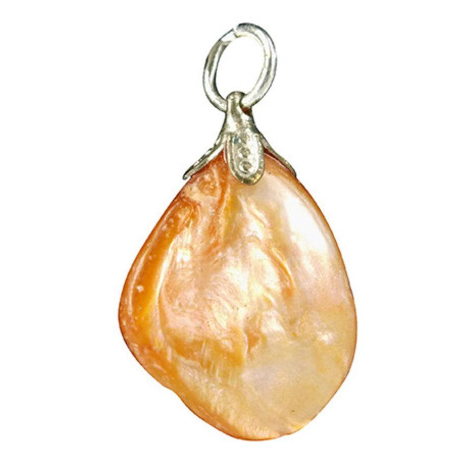 Parelmoer oranje edelsteen hanger (gekleurd)