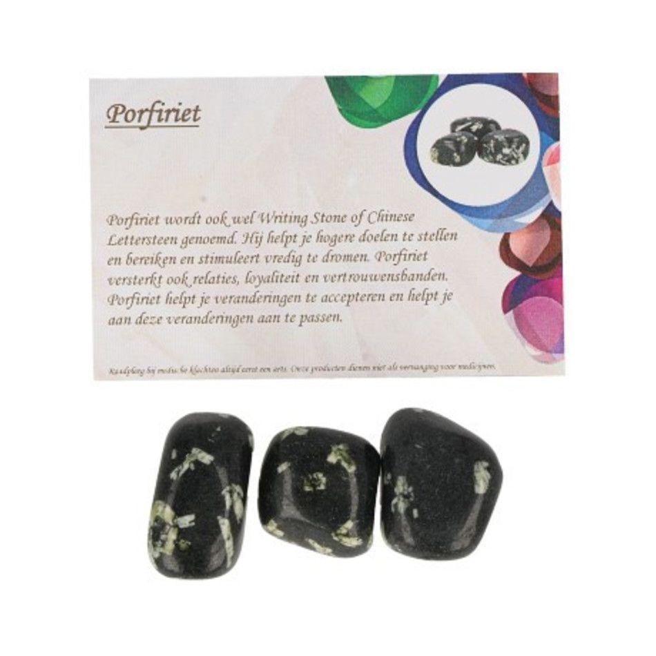 Porfiriet 50 gr. trommelstenen (mt3) met info