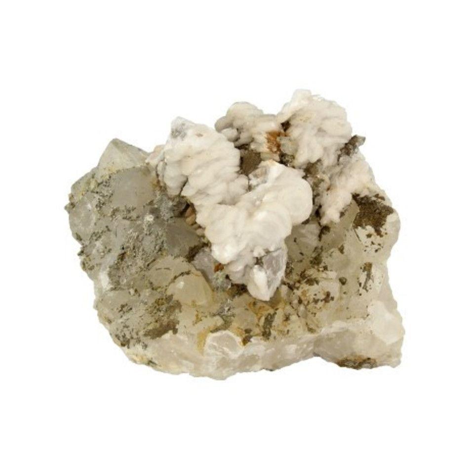 Pyriet op Calciet/Bergkristal nr.1