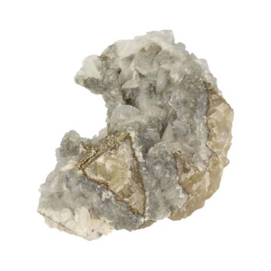 Pyriet op Calciet en Fluoriet ruw nr.23