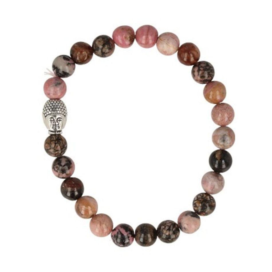 Rhodoniet kralen armband boeddha mannen