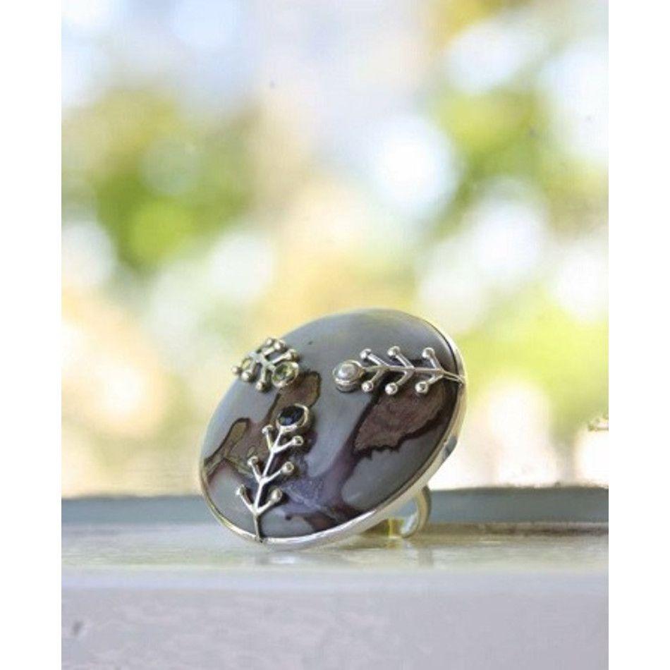 Ring Jaspis choco zilver