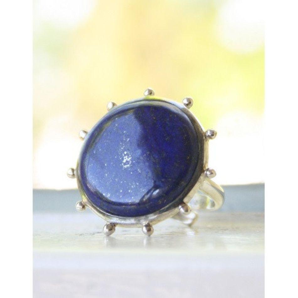Ring Lapis lazuli rond zilver