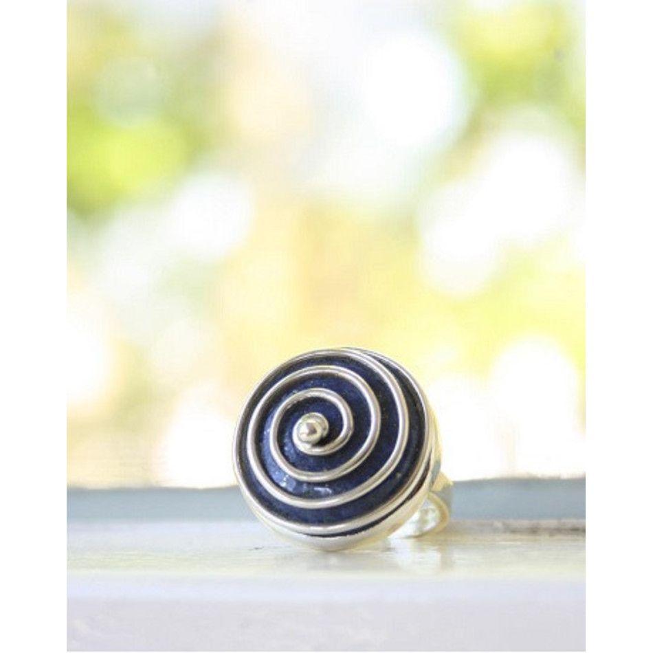 Ring Lapis Lazuli spiraal zilver