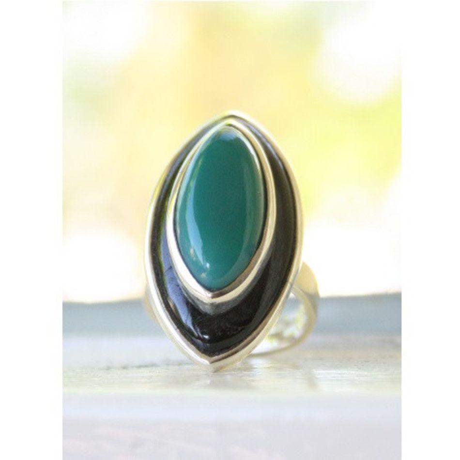Ring Onyx groen en zwart zilver