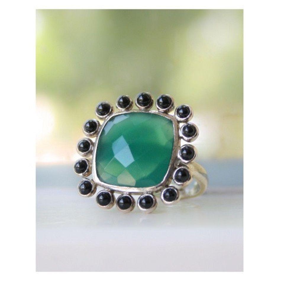 Ring Onyx groen met Spinel zwart zilver