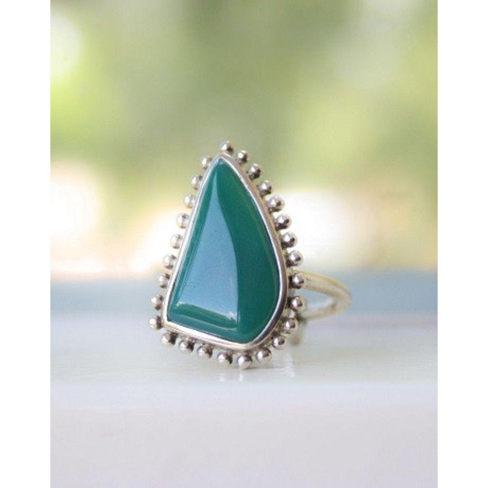 Ring Onyx groen zilver