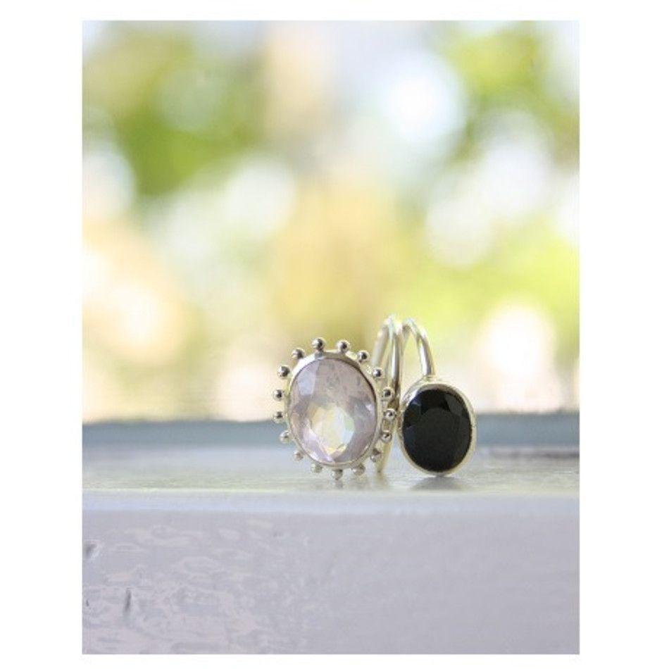 Ring Roze kwarts / Spinel zwart wrap zilver - mt 16
