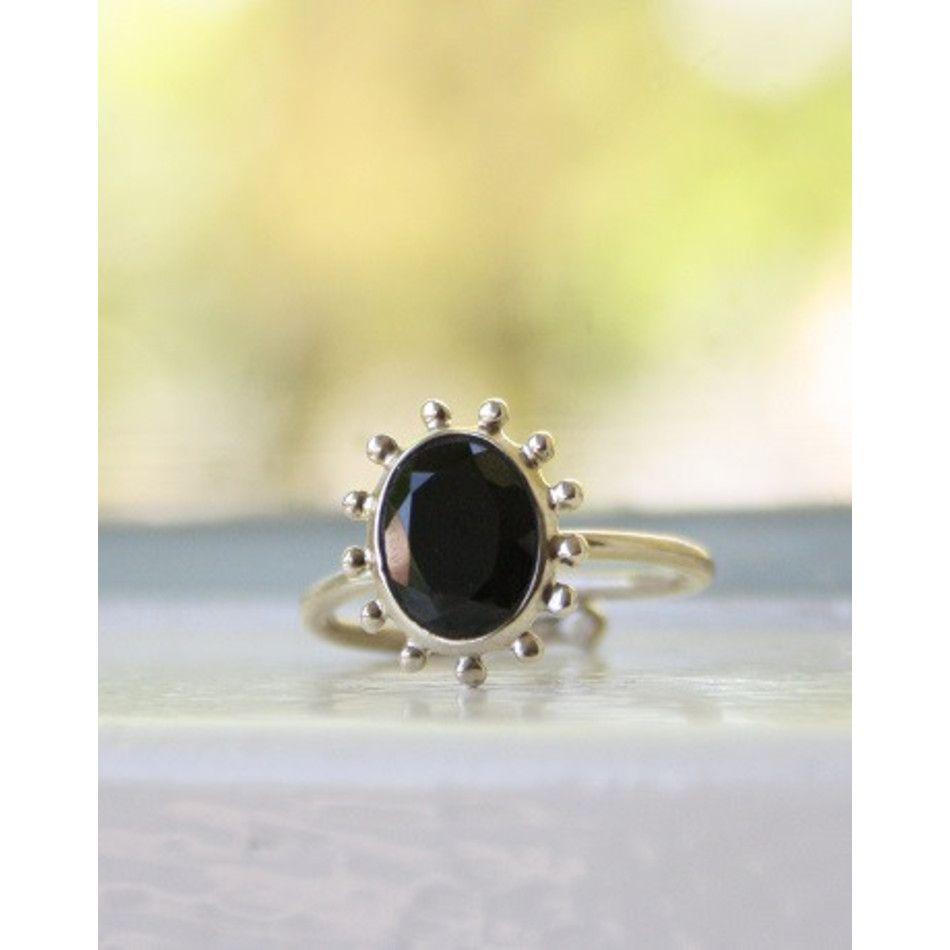 Ring Spinel zwart facet zilver