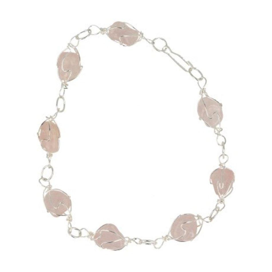 Roze kwarts armband / enkelband edelsteen wire