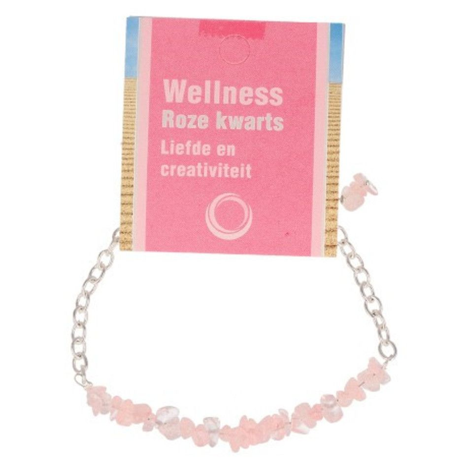 Roze kwarts bar armband + kaart