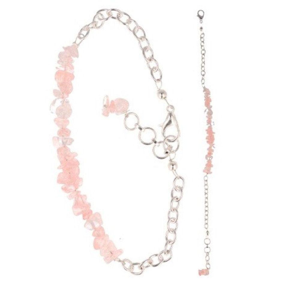 Roze kwarts bar armband