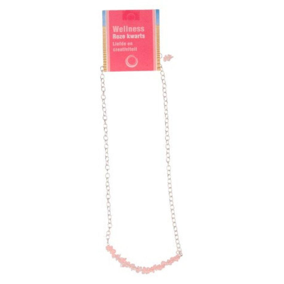 Roze kwarts bar ketting + kaart