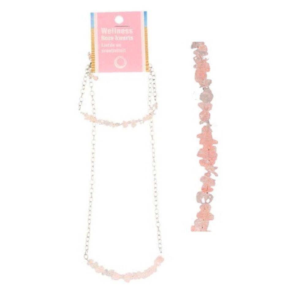 Roze kwarts bar sieraden combi