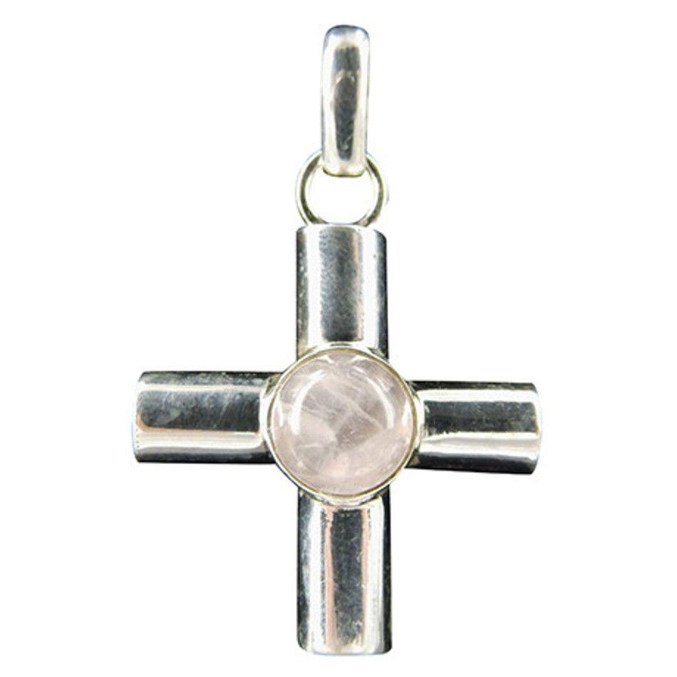 Roze kwarts hanger in zilver breed kruis