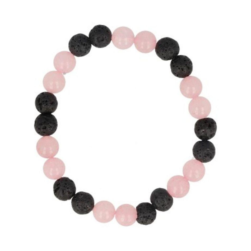 Roze kwarts / Lavasteen kralen armband