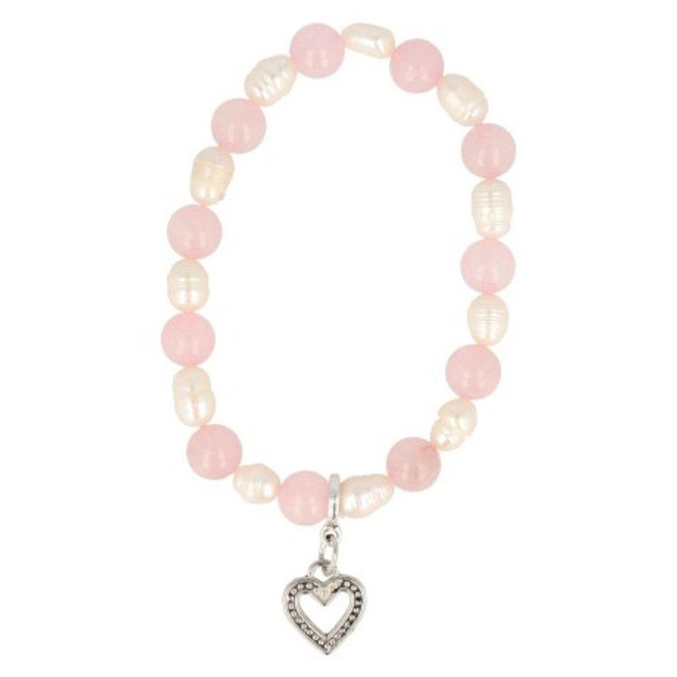 Roze kwarts / Parel / hart kralen armband