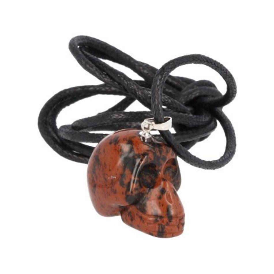 Schedel hanger aan koord Obsidiaan mahonie