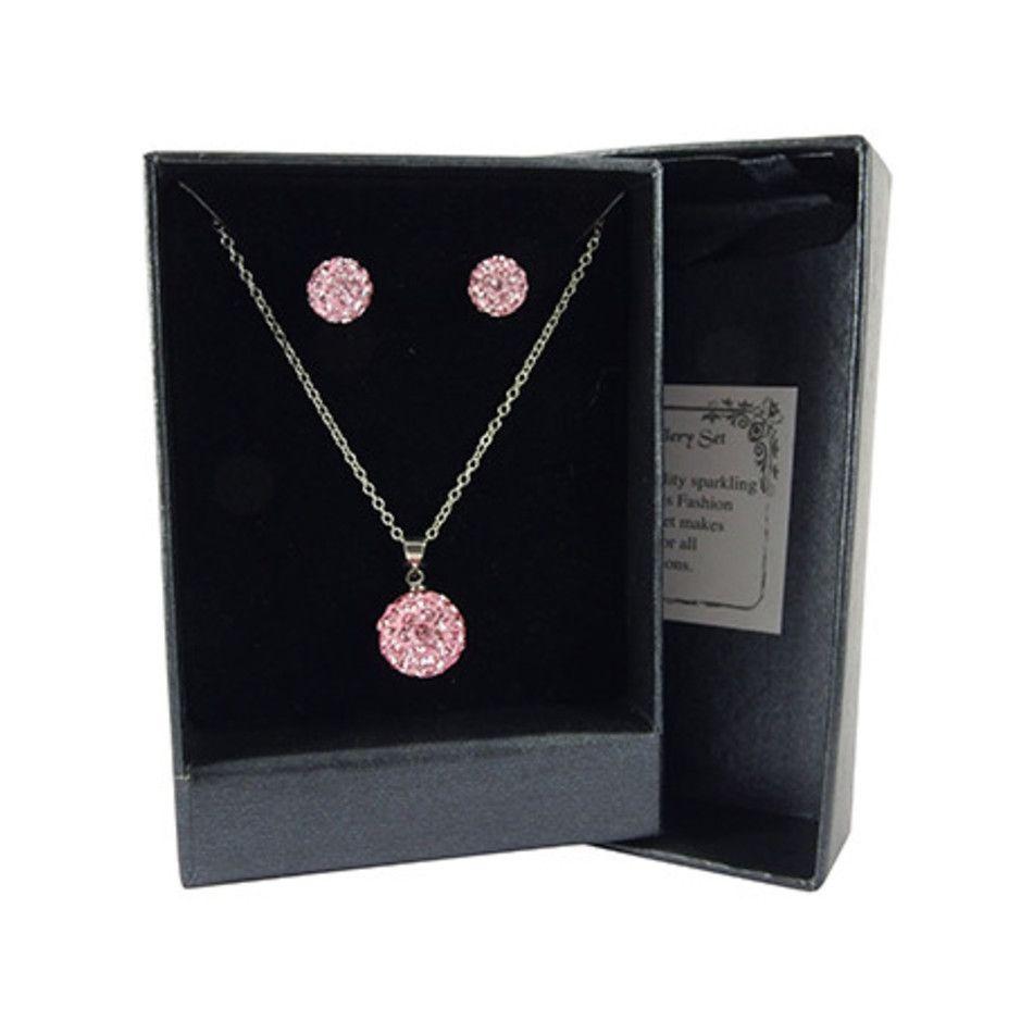 Shamballa set hanger / oorbellen roze