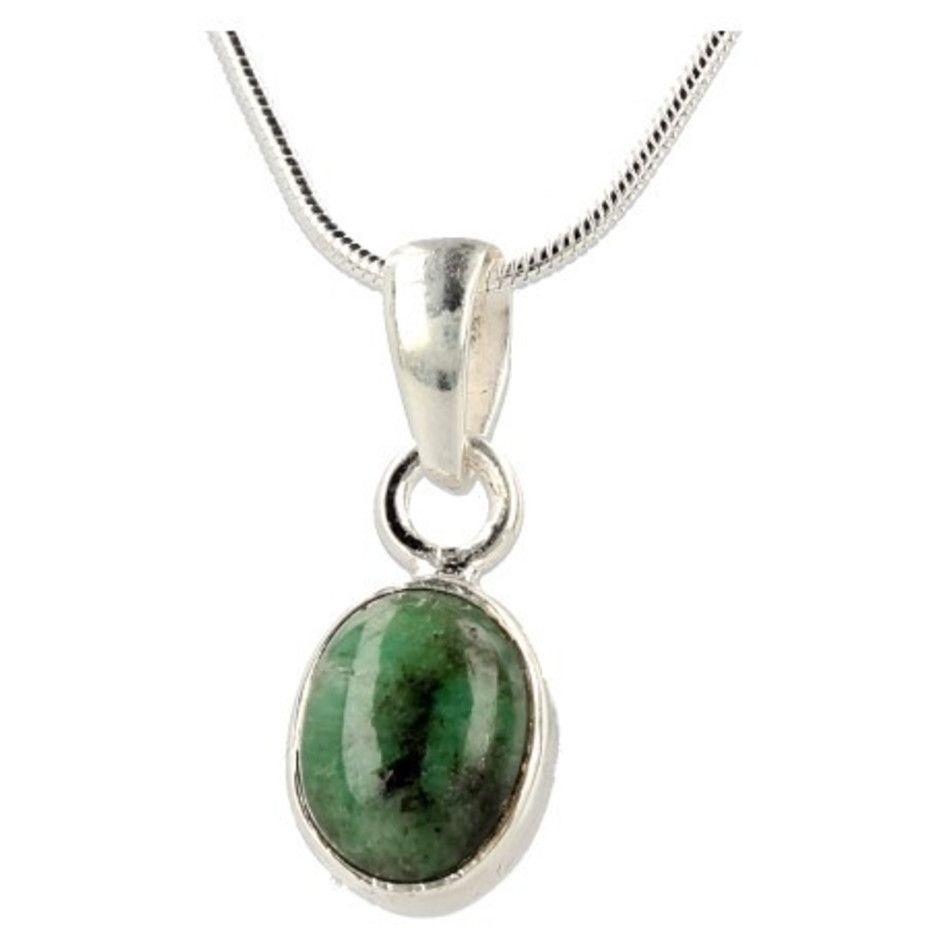 Smaragd hanger in zilver nr.7