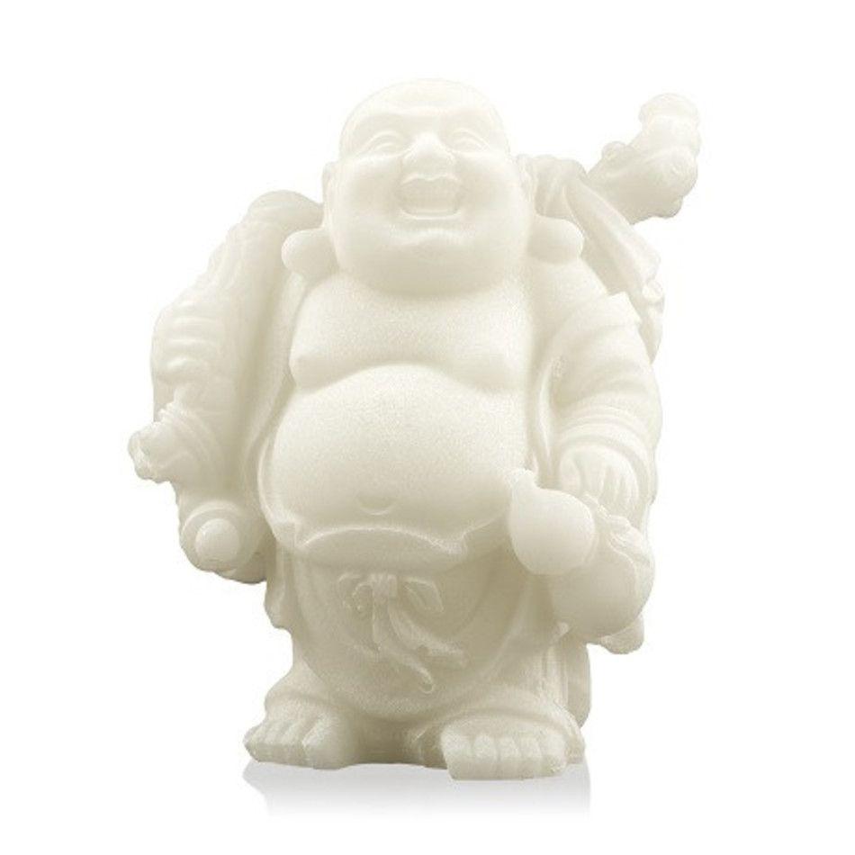Sneeuwkwarts beeldje boeddha met knapzak 9 cm