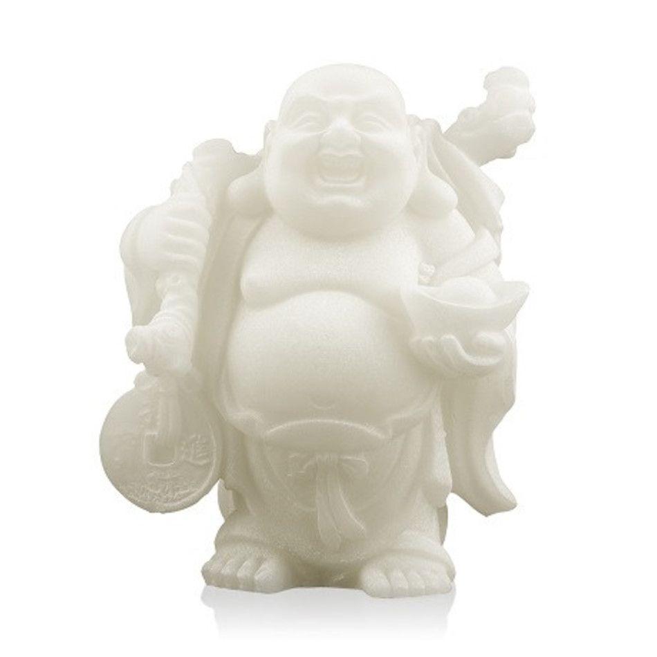 Sneeuwkwarts beeldje boeddha met knapzak en schaal 9 cm