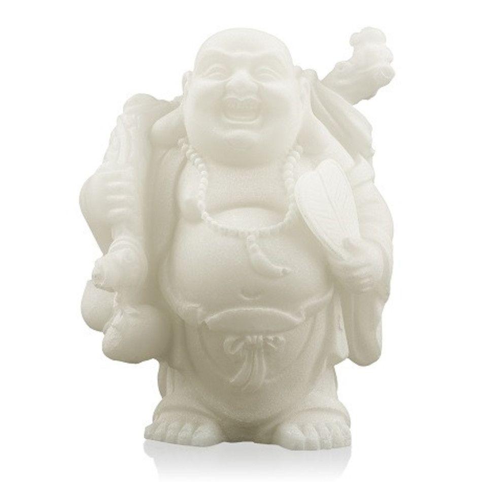 Sneeuwkwarts beeldje boeddha met knapzak en spiegel 9 cm