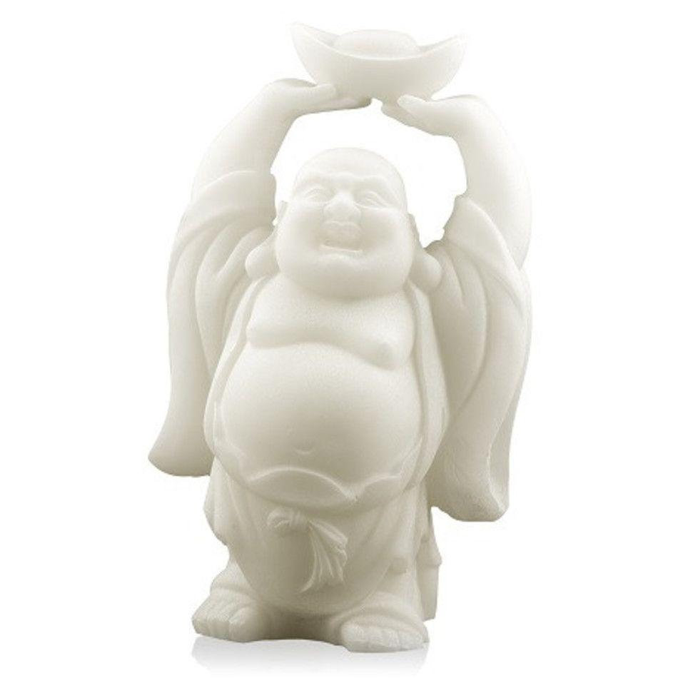 Sneeuwkwarts beeldje boeddha met schaal boven hoofd 12 cm