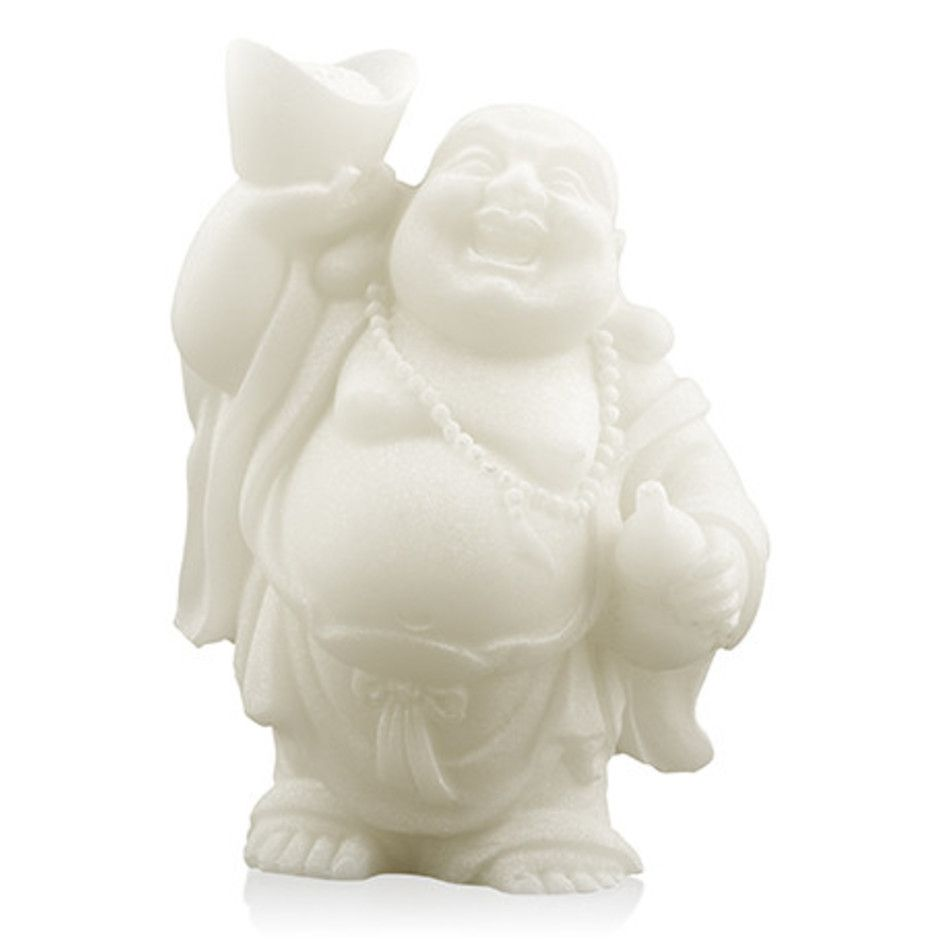 Sneeuwkwarts beeldje boeddha met schaal en kruik 9 cm
