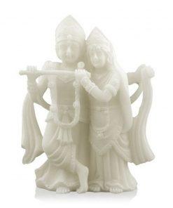 Sneeuwkwarts beeldje Krishna & Radha
