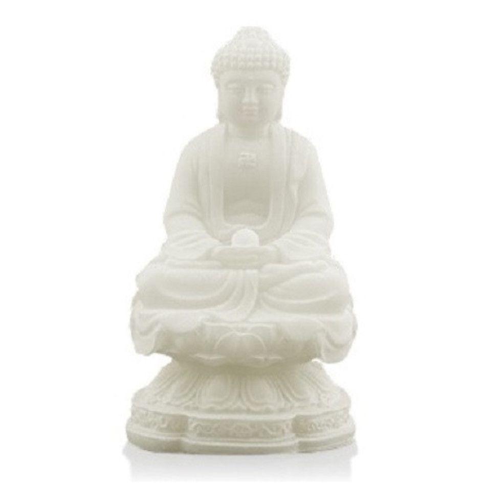 Sneeuwkwarts beeldje rulai boeddha zittend 11 cm
