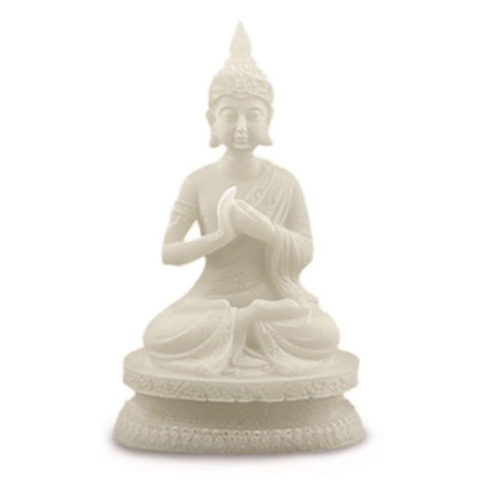 Sneeuwkwarts beeldje tai boeddha zittend 15 cm