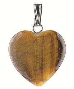 Tijgeroog hart hanger 20 mm